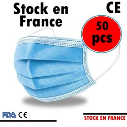50 Masques Pcs Jetable 3 Couches BLEU