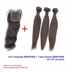 "LOT Exceptionnel 12"" Raide Remyhair- 3 Paquets de 12 Pouce + 1 paquet de Lace closure 12"