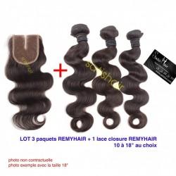 """LOT Exceptionnel 20"""" Ondulé Remyhair- 3 Paquets de 20Pouce + 1 paquet de Lace closure 18"""