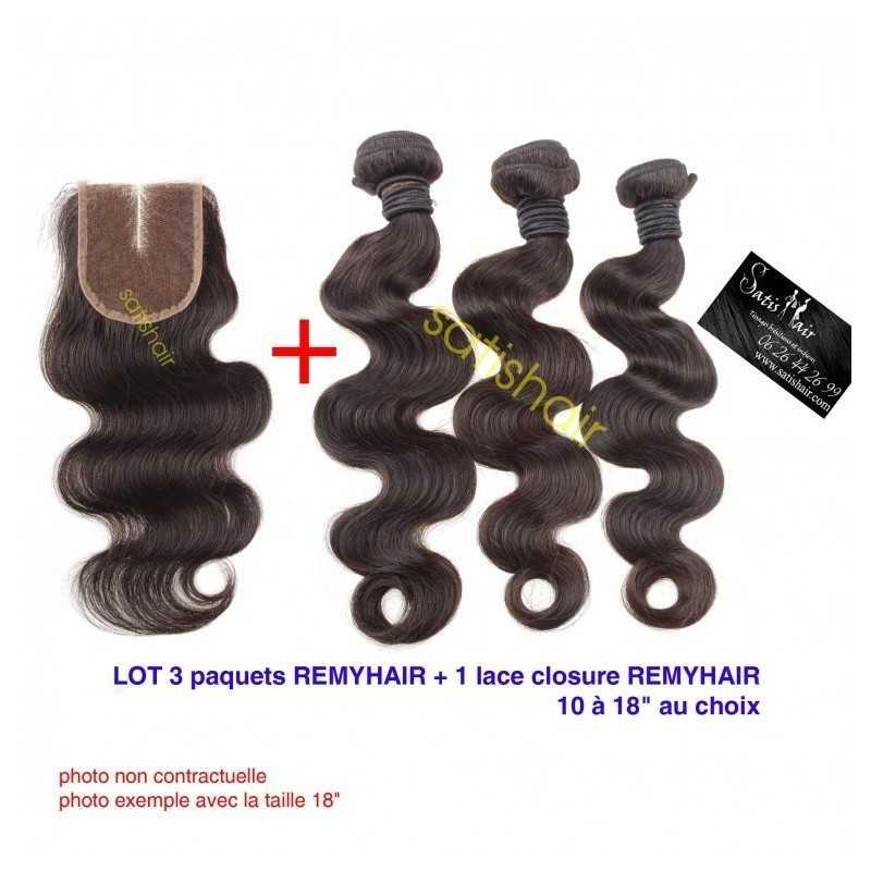 """LOT Exceptionnel 32"""" Ondulé Remyhair- 3 Paquets de 32 Pouce + 1 paquet de Lace closure 18"""