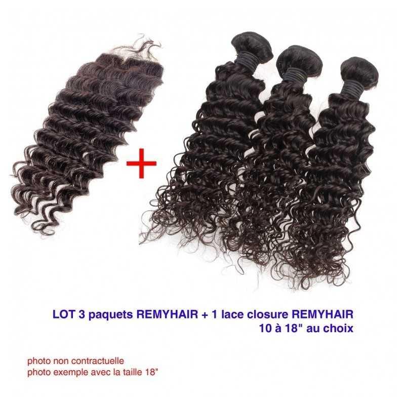 """LOT Exceptionnel 22"""" Bouclé Deep Remyhair- 3 Paquets de 22 Pouce + 1 paquet de Lace closure 18"""