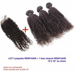 """LOT Exceptionnel 16"""" frisé curly Remyhair- 3 Paquets de 16 Pouce + 1 paquet de Lace closure 16"""